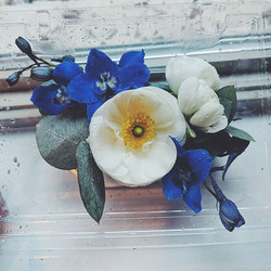 White and Blue Wrist Corsage