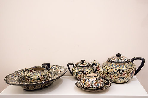FRANCESCO MOLARONI Servizio da thè in maiolica dipinta a mano per 2 persone