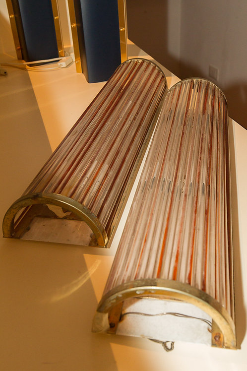 Coppia di raffinate applique da parete a canne di vetro