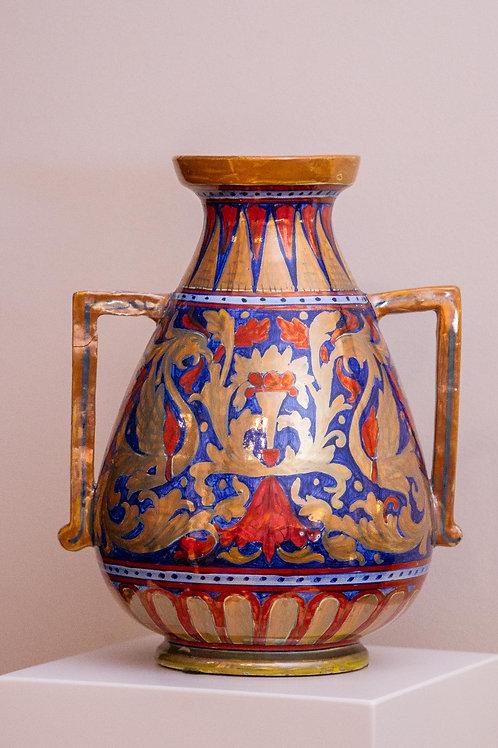 COOPERATIVA CERAMISTI GUALDO TADINO Vaso ad anfora in ceramica decorata a lustro