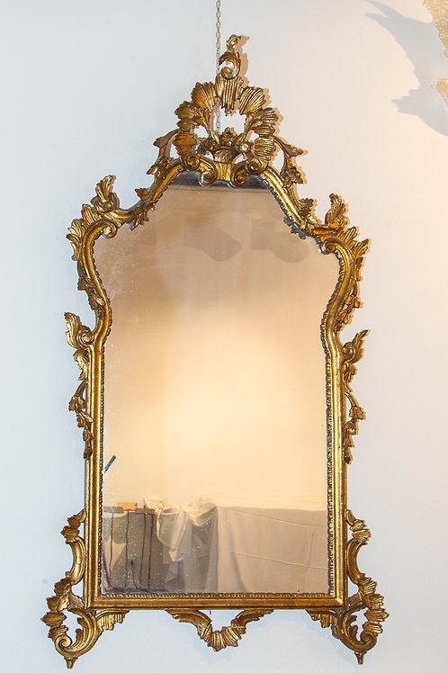 Grande specchiera italiana rettangolare a motivo sagomato