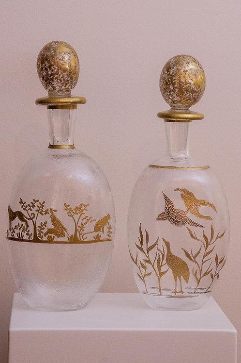 Coppia di vasetti in vetro liberty, anni '30