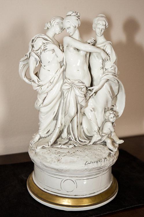 """PIERGIANNI CEDRASCHI """"Le tre grazie"""", scultura in porcellana di Capodimonte"""