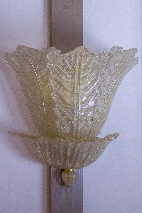 7 applique da parete in vetro cristallo e graniglia, a decoro pasta oro, Murano