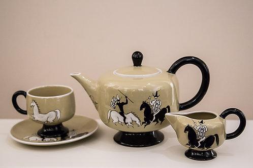 ELSO SORA Servizio da thè in ceramica decorato a mano per 6 persone