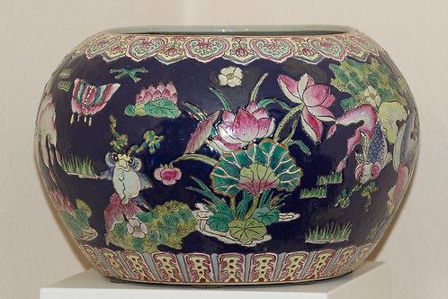 Vaso cachepot cinese, periodo rosa, decorato all'esterno e all'interno
