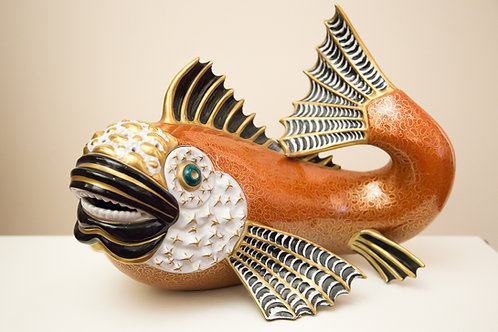 MANGANI Firenze - Pesce in porcellana dipinta a mano,  anni 90