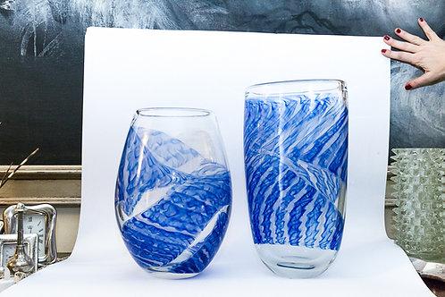 Coppia di grandi vasi in filigrana blu, anni '70 di Archimede SEGUSO (Murano, 19