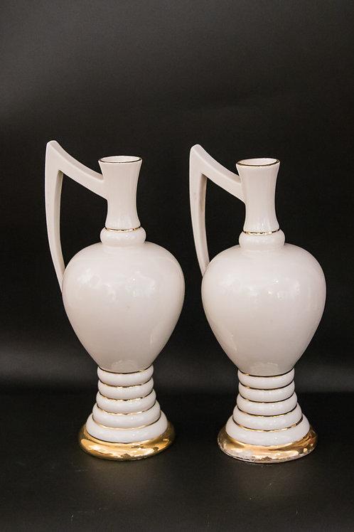 CANOVA Coppia di vasetti ad anfora in porcellana color crema e oro