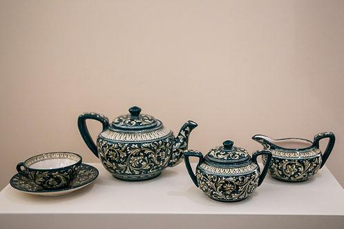 FRANCESCO MOLARONI Servizio da thè in maiolica dipinta a mano per 4 persone