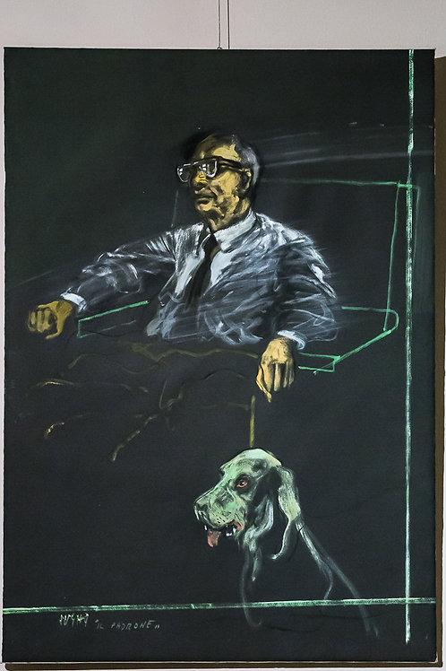 """""""Uomo col cane / Il padrone"""" - ALBERTO SUGHI  (Cesena, 1927 – 2012)"""