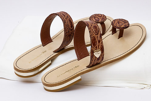 "Sandali flat ""Le damasco chic"", colore brown"