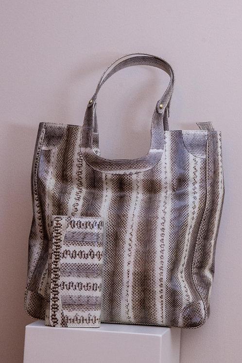 Set borsa e portafoglio in rettile pitone