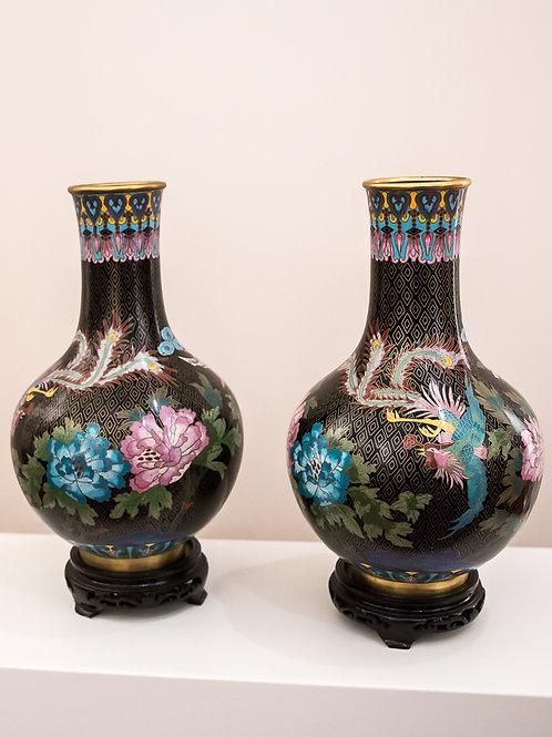 """Coppia di vasi """"cloisonne"""" - Cina, seconda metà del '900"""