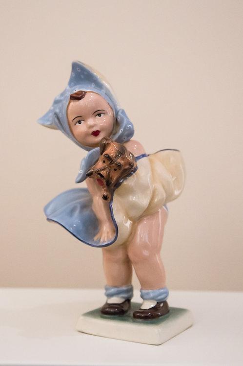 """CARLO MOLLICA """"Bimba con Cane"""", ceramica - anni '50"""