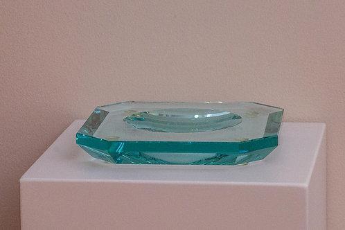 Portacenere ottagonale in cristallo azzurro