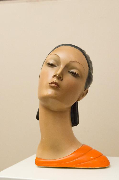 ARS PULCHRA Testa di donna in ceramica smaltata, epigono LENCI