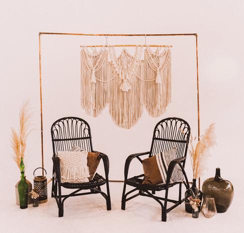 Cane chair setup