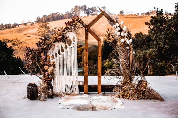 Ceremony arch setup