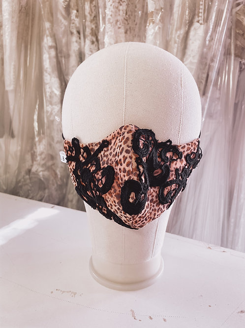 Leopards + lace mask
