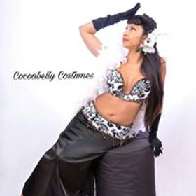 Black and White Damask Bellydance Costume Bra  and B