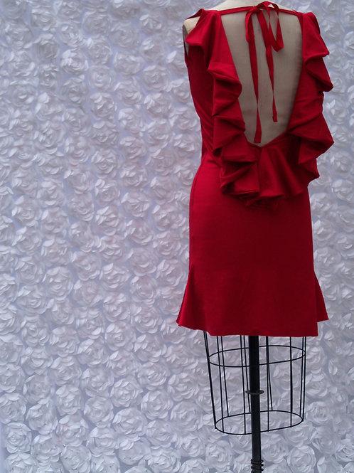 Red Tied Plunge Back Cocktail Dress