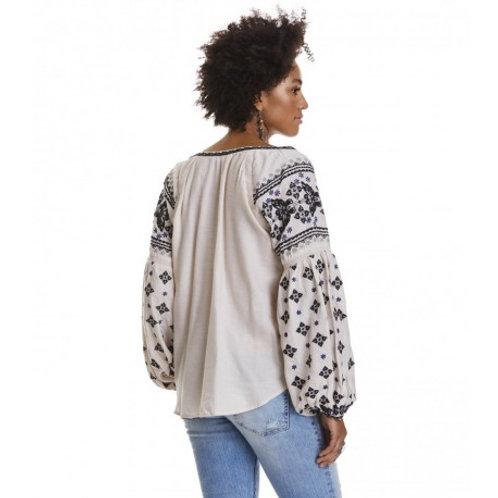 Odd Molly 217T-560 folktale blouse LIGHT PORCELAIN