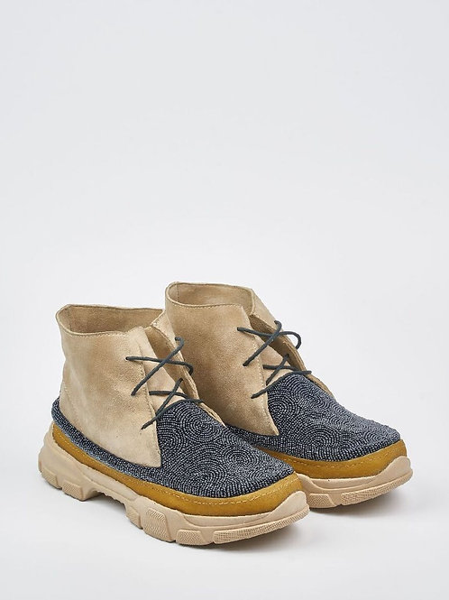 Laidback London Emre 2.0 Beaded Lace Up Ankle Boot Sand Suede