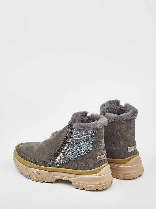 Laidback London Setsu Emb 2.0 Side Zip Grey Suede