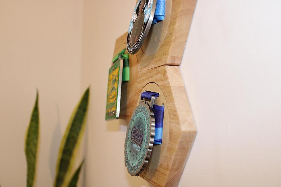 wooden medal hanger