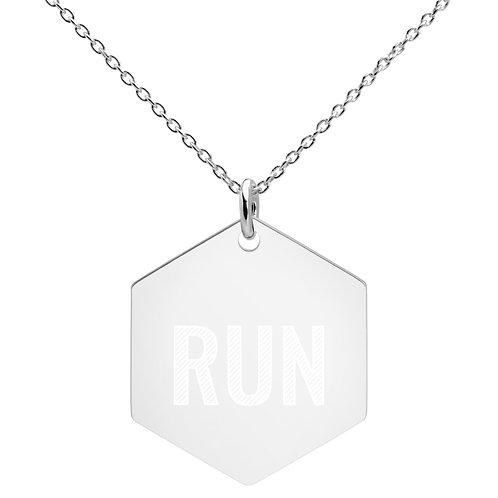 Run Engraved Silver Hexagon Necklace