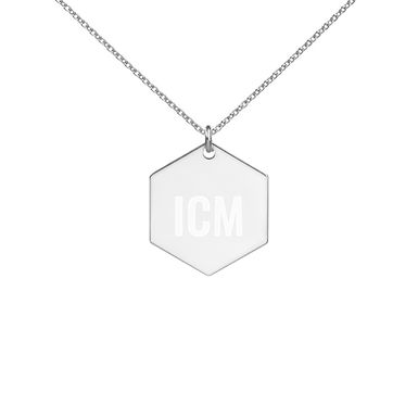 I Challenge Myself Engraved Silver Hexagon Necklace