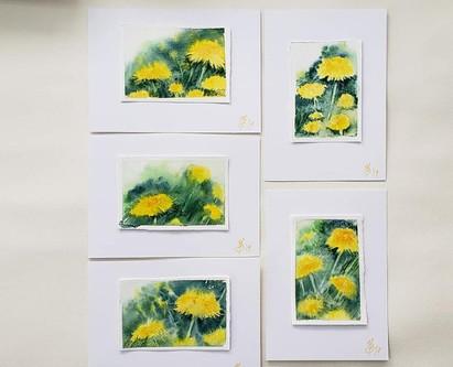 Tiny watercolor dandelions