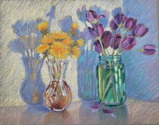 Dandelions and tulips