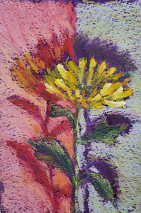 Yellow flower on purple and red