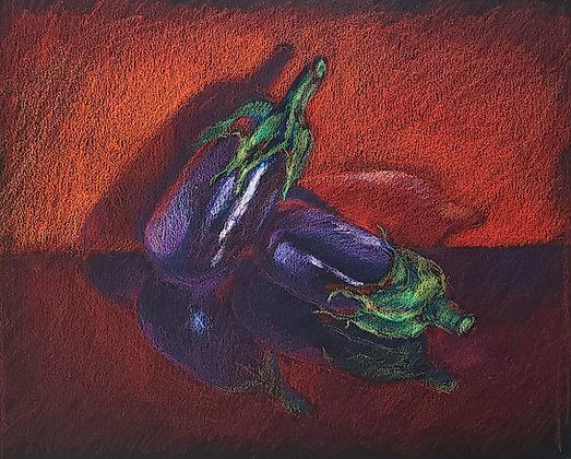 Eggplants on red