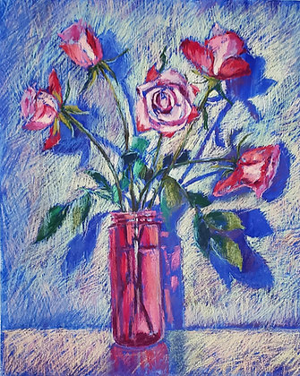 Roses in a pink bottle