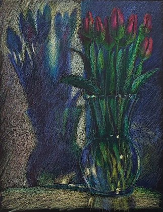 Tulips in a glass vase