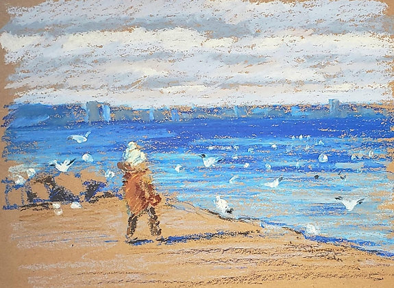 Child and sea gulls