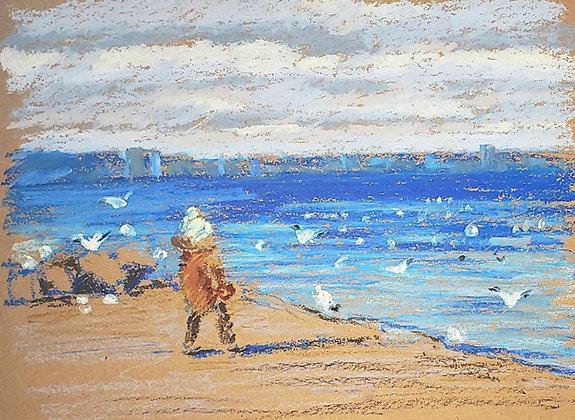 Child and sea gulls