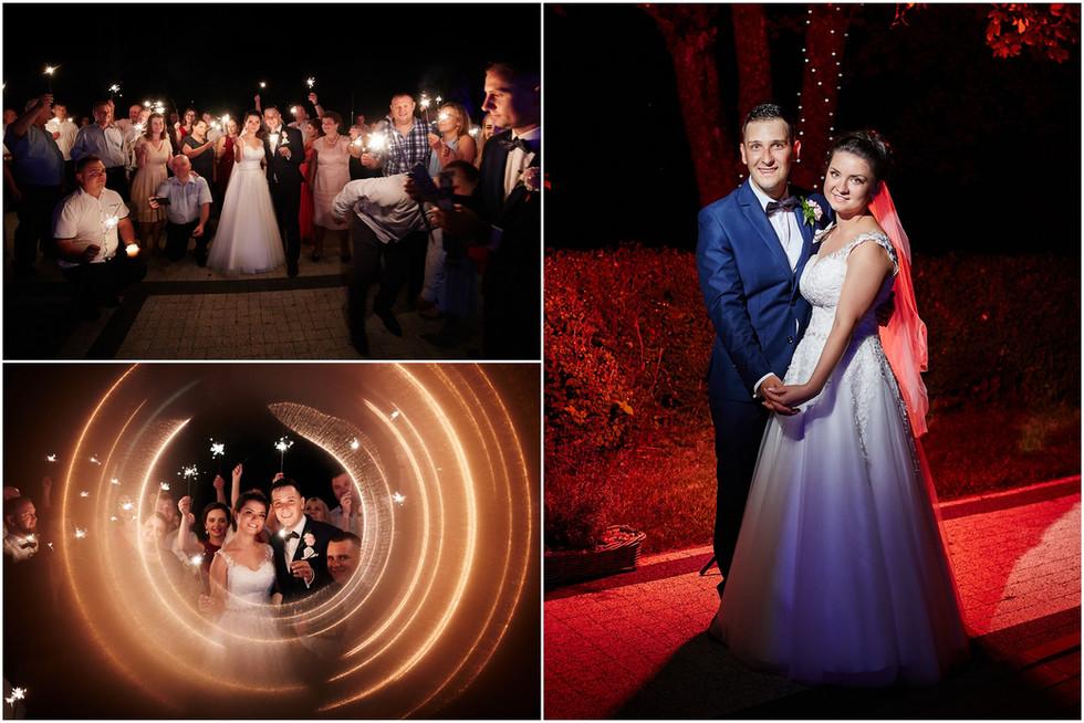 zimne ognie na zdjęciu weselnym Olecko Suwałki