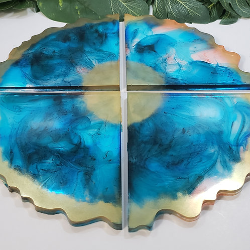 Geode Gold and Blue Coasters - Set of 4