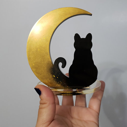 Gold Moon Cat Decor