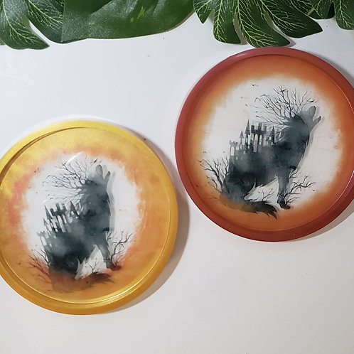 Howl at the Moon Coasters - Set of 2