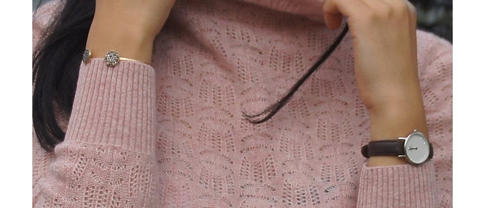 Col roulé nude rosé