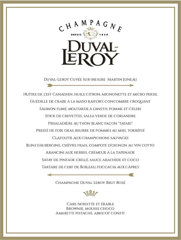 Menu Duval-Leroy, événement de lancement de la Cuvée Sur-Mesure Martin Juneau