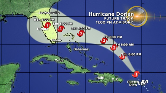 Hurricane Dorian Slams Into North-Eastern Caribbean