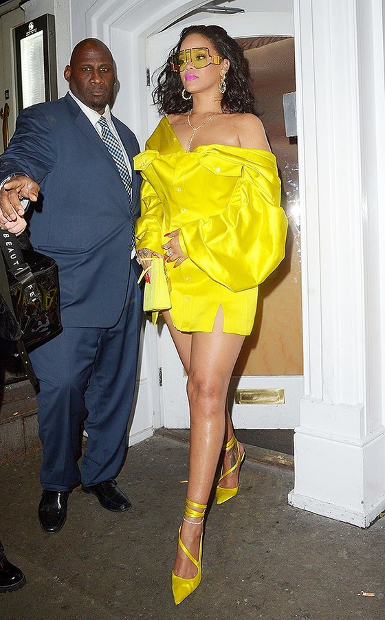 Rihanna In Yellow At Fenty Beauty Collection Launch Party In London