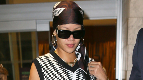 Rihanna On Night Out In Downtown NYC In Black & White Striped Outfit