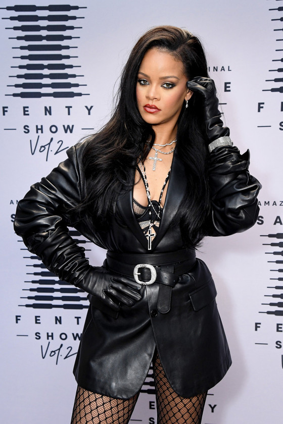 Rihanna In Black Leather Outfit During Launching Of Savage X Fenty Show Vol. 2